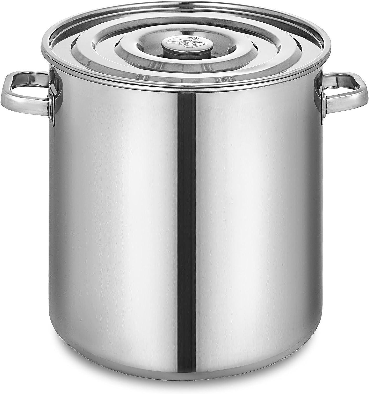50cm Olibelle Seau /à Soupe Marmite en Acier Inoxydable 100 Quart Cafeti/ère /à th/é avec Couvercle 25 Gallon Pr/éparation pour la Cuisine