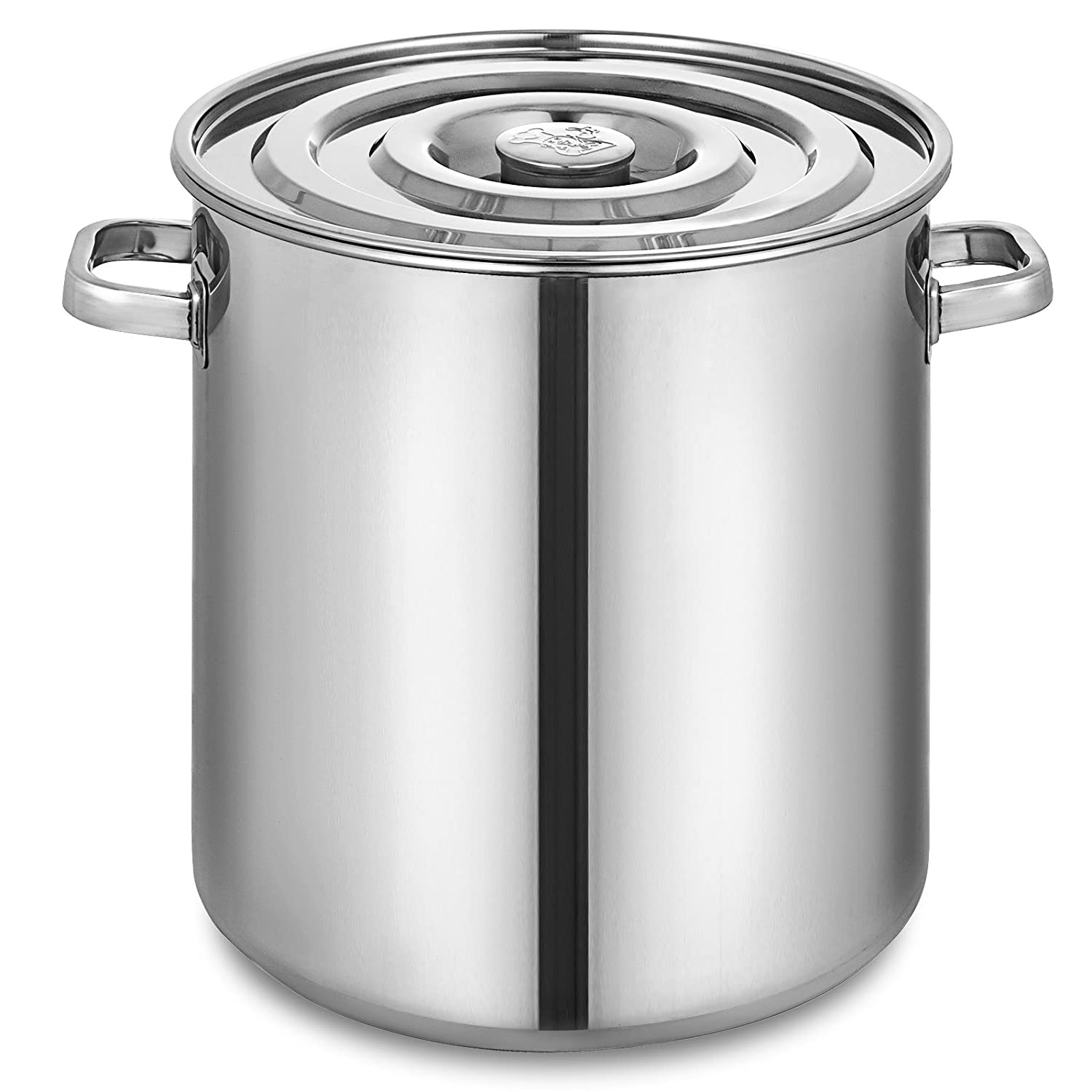 Mophorn Kettle Stockpot Stainless Steel 18.5Gal with Lid for Home Brew and Stock Pot Cookware, 74 Quart, With