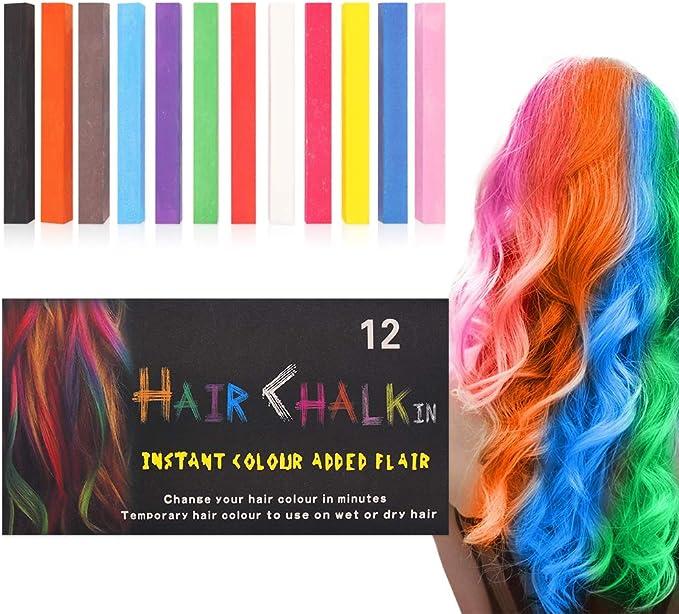 Tiza para el pelo,12 colores temporales de cabello,perfectos para fiestas, Halloween, disfraces, festivales, Cosplay y más,Para cualquier tipo de ...