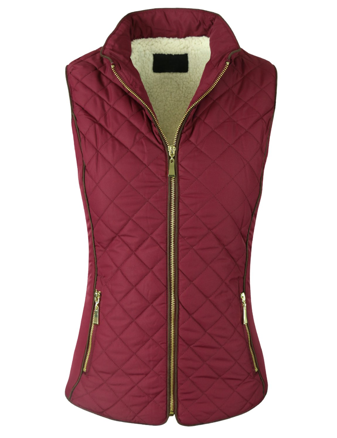 makeitmint Women's Basic Solid Quilted Padding Jacket Vest w/ Pockets Small YJV0002_24BURGUNDY