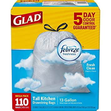 Glad OdorShield Tall Kitchen Drawstring Trash Bags - Febreze Fresh Clean - 13 Gallon - 110 Count