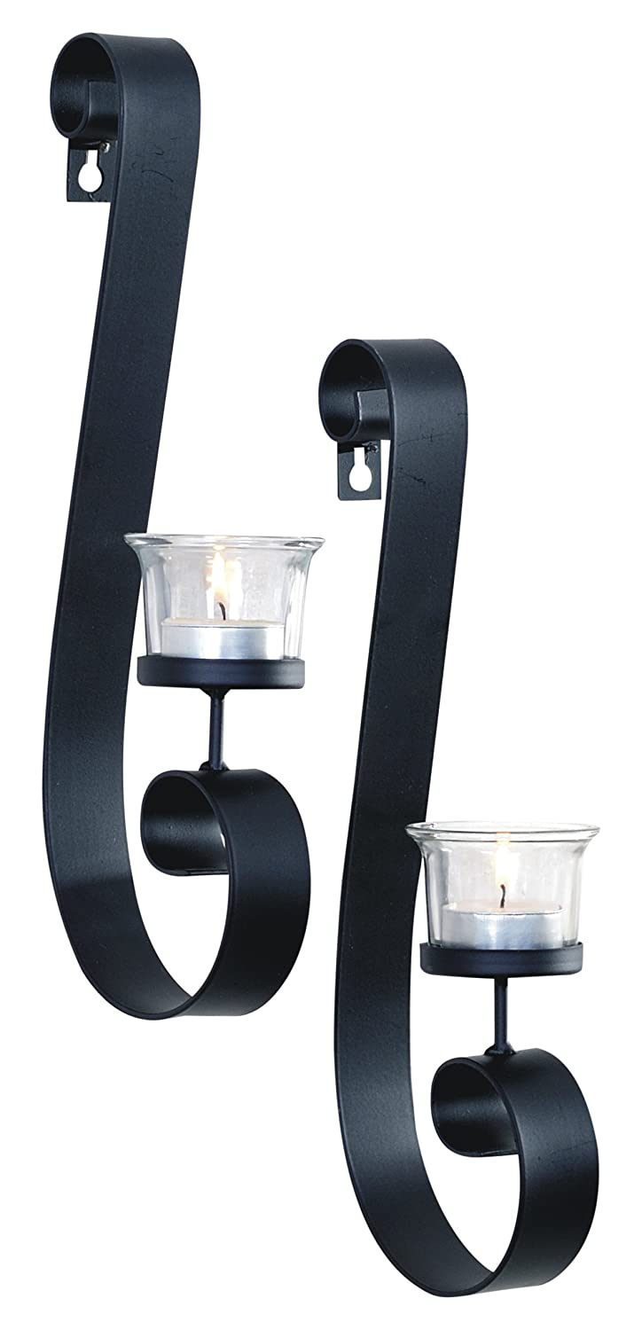 2 Piece ArtMaison.ca Bold Metal with Glass Candle Sconce 3x16 Black