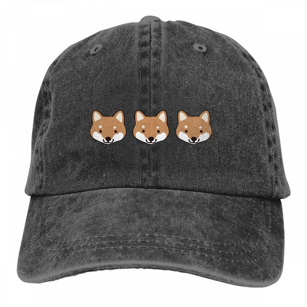HM66-CAP Shiba Inu Faces Mens Womens Cotton Adjustable Yarn-Dyed Denim Baseball Cap Trucker Hat