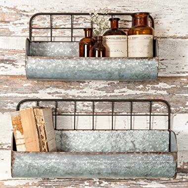 Colonial Tin Works Set of Two-Decorative Wire Back Wall Shelves-Industrial Rustic Grey/Rust