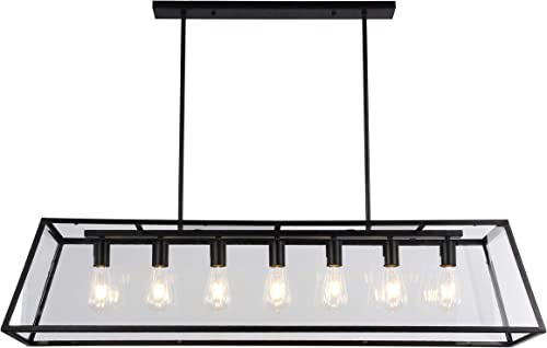 Warehouse of Tiffany WTY111 Sheriz 47-Inch Black Metal and Glass 7-Light Includes Edison Bulbs Chandelier