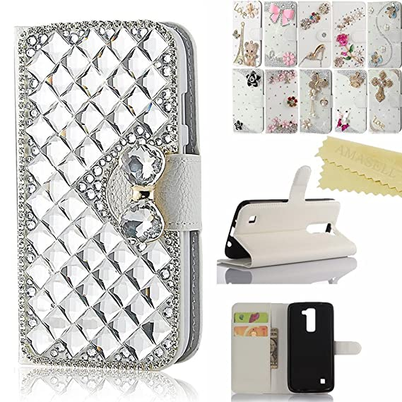timeless design 37e05 8a830 LG K7 case, AMASELL Handmade Bling Crystal Diamond Leather Wallet Stand  Case for LG Tribute 5, LG LS675, LG MS330 Case, Silver Big Crystal Bowknot