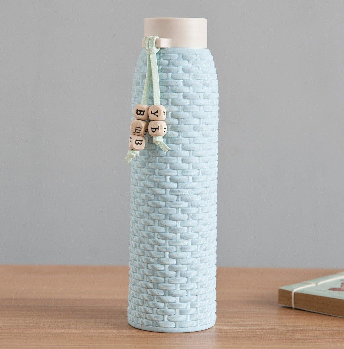 JMAHM Botella de agua con funda de silicona antideslizante de doble capa para yoga y deporte, smoothies, fitness, deportes, vida