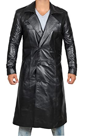 f06d54a7f00 Brown Trench Coat Men - Distressed Black Genuine Leather Long Overcoat at  Amazon Men s Clothing store