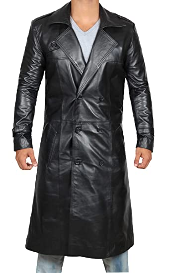 eb878b823 Brown Trench Coat Men - Distressed Black Genuine Leather Long Overcoat