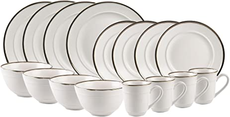 Beautiful 16 Piece Dinnerware Set with Rustic Charm- Service for 4 (White with Burnt  sc 1 st  Amazon.com & Amazon.com | Beautiful 16 Piece Dinnerware Set with Rustic Charm ...