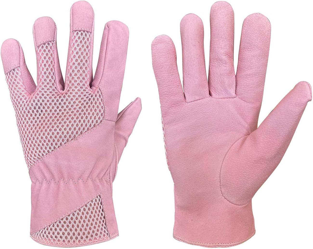 Leather Gardening Gloves for Women, Pigskin Scratch Resistance Garden Yard Gloves