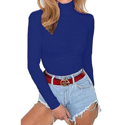 Allegrace Women's Long Sleeve Turtleneck Bodycon Stretch Bodysuit Jumpsuit Rompers