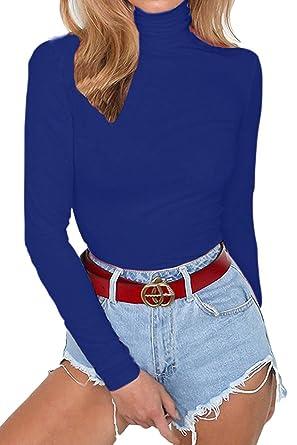 641ed9c88f0 Allegrace Women s Long Sleeve Turtleneck Bodycon Stretch Bodysuit Jumpsuit  Rompers Blue S