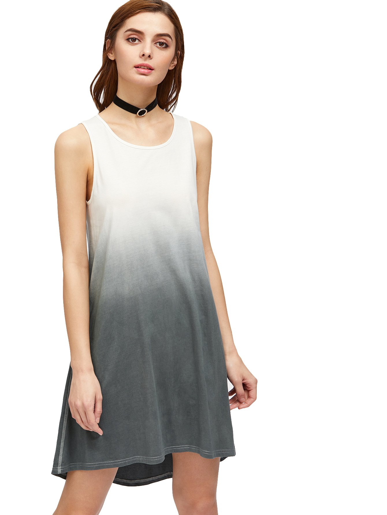 6f5c20961 Galleon - Romwe Women's Tunic Swing T-Shirt Dress Short Sleeve Tie Dye  Ombre Dress (Large, Grey_1)