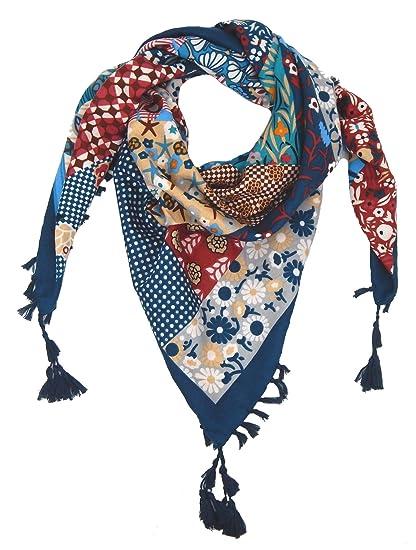 3cedf1dd0966 Ella Jonte Foulard Écharpe triangle pour femme élégant et tendance de la  dernière collection bleu coton