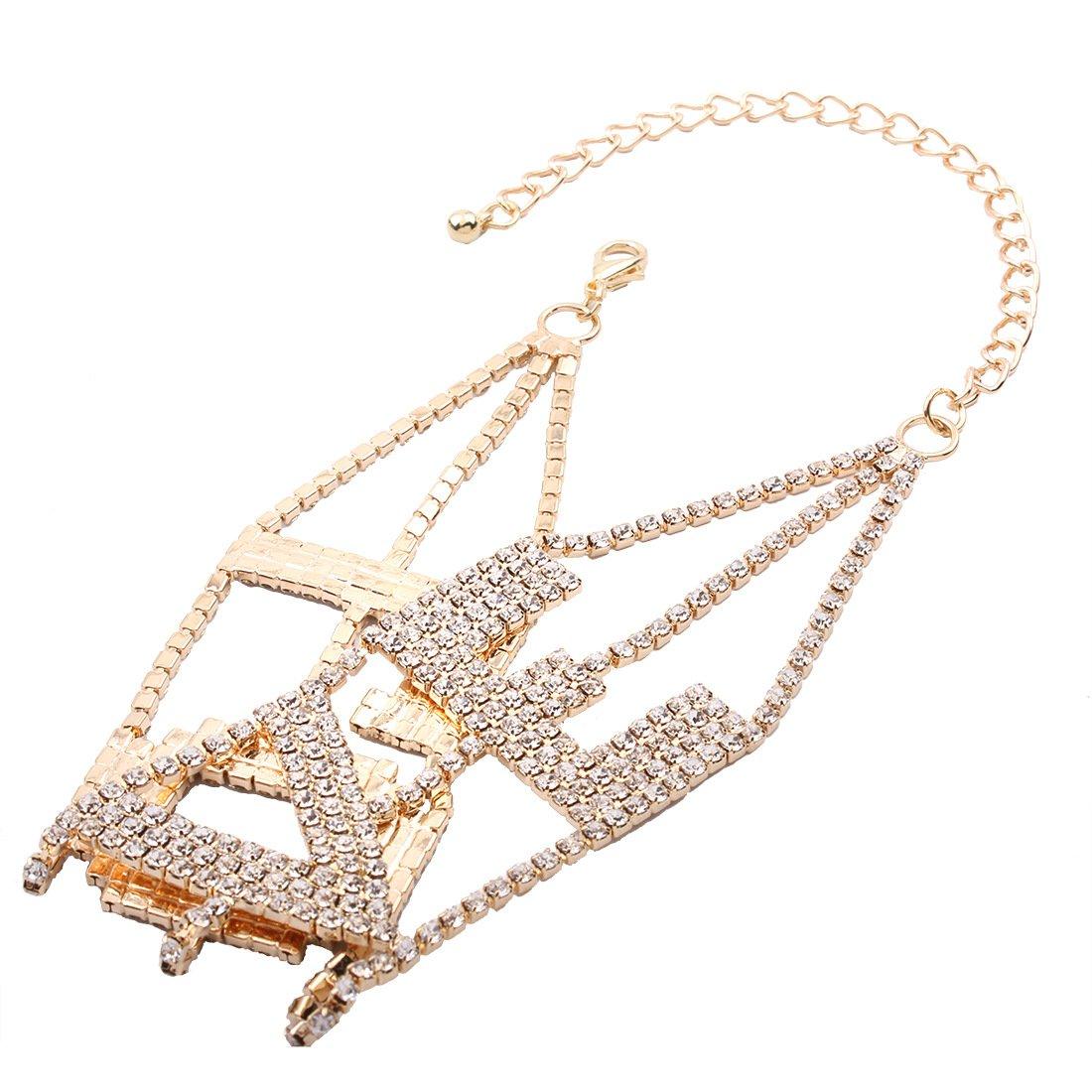 MengPa Rhinestone Choker Necklace for Women Fashion Letter Love Collar Wedding Jewelry Gold by MengPa (Image #4)