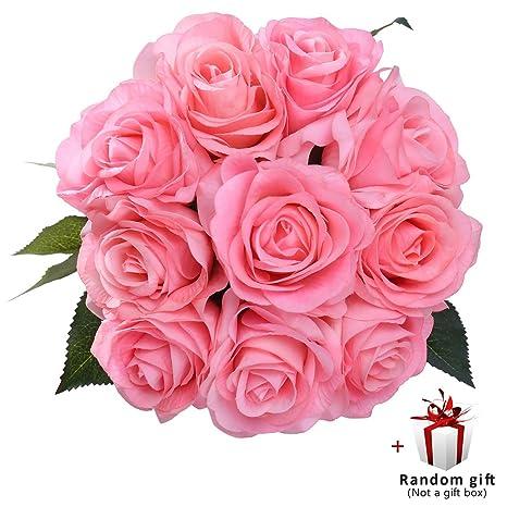 JUDY Flores Artificiales Rosas a granel 10 Pack Rosas de seda Wedding Home Sitting Room Decoration