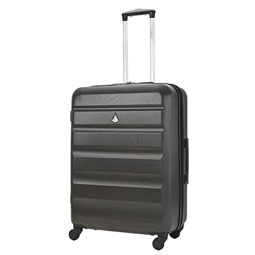 """Aerolite Medium Super Lightweight ABS Hard Shell Travel Hold Check In Luggage Suitcase with 4 Wheels, 25"""", Charcoal"""