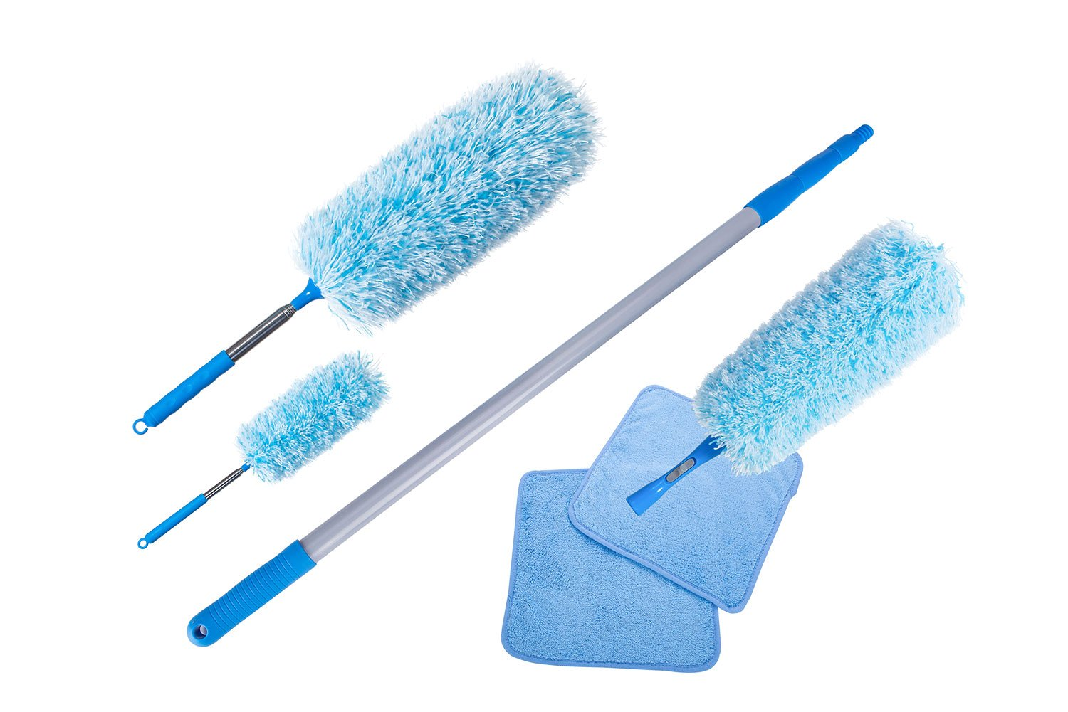 Extendable Cleaning Microfiber Fluffy Duster set with telescopic Pole, Washable fluffy Duster for high reach ceiling fan, Office and Car, (set of 6 including: 3 X Extendable dusters,1 X Extendable ab by Mogin