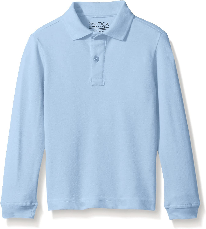 Nautica Boys Husky School Uniform Long Sleeve Polo