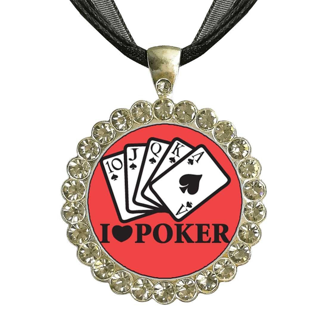 GiftJewelryShop シルバープレート B00PAUPYQU I Love Love Poker I ホワイトクリスタルチャームペンダントネックレス B00PAUPYQU, おばけのかくれんぼrenren店:a4e73089 --- itxassou.fr