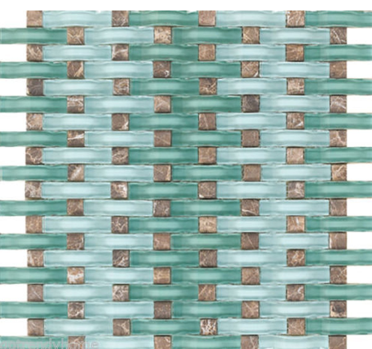 USA Premium Store 10SF- Ocean Blue WAVY Glass Emperador Dark Mosaic Tile Mix Kitchen Backsplash by USA Premium Store