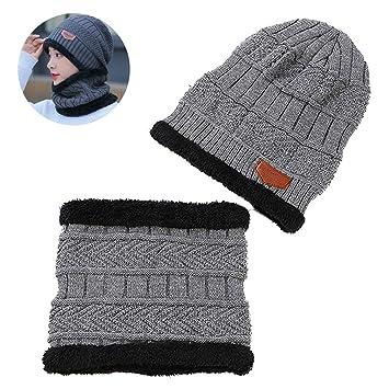 93577a26b1fbe mxdmai Unisex Winter Mütze und Schal Set Beanie Hut Schal Set mit  Fleecefutter Warme Weiche Strickmütze
