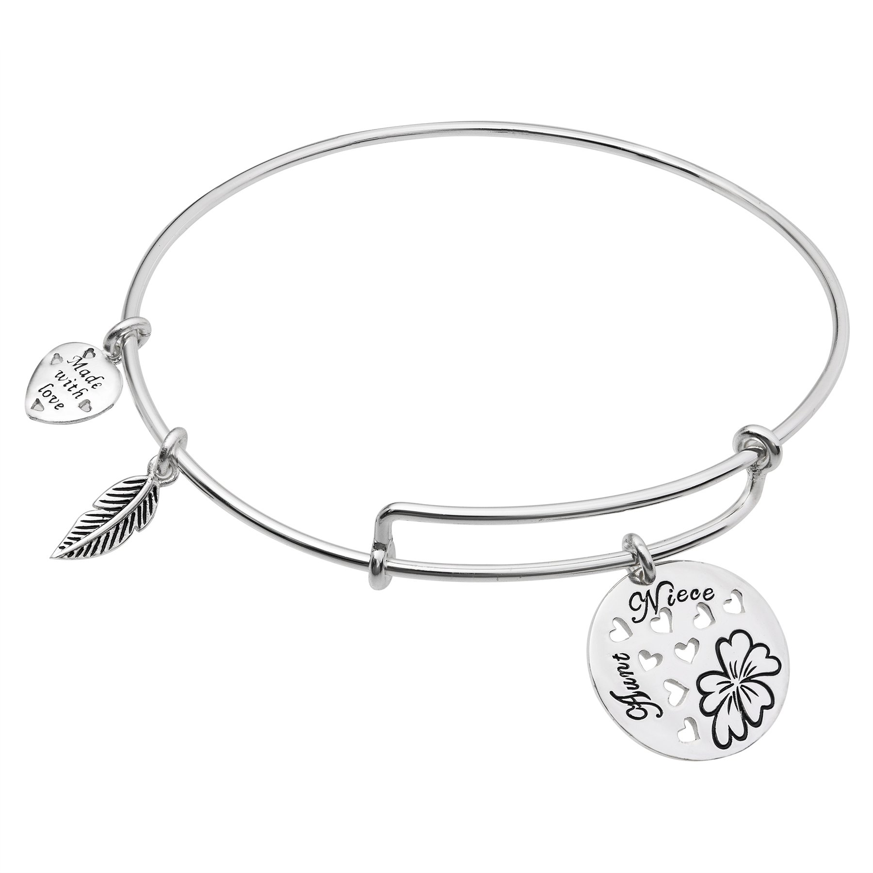 Sterling Silver Aunt Niece Heart Family Dangle Charm Expandable Bangle Bracelet