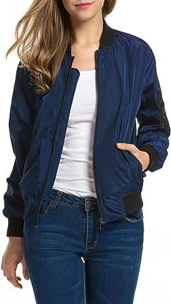 Zeagoo Womens Fleece Coat Full-Zip Stand Collar Biker Bomber Jacket