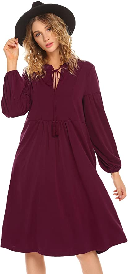Meaneor Women's V-Neck Long Sleeve Casual Swing Loose T-Shirt Tunic Dress