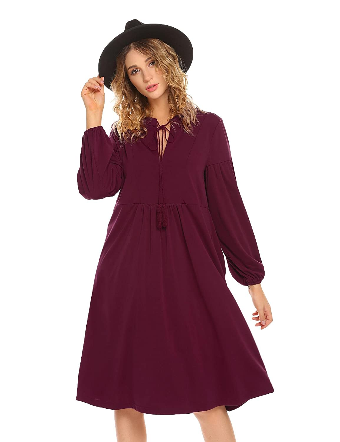 Meaneor Women's V-Neck Long Sleeve Casual Swing Loose T-Shirt Tunic Dress ##MAH023504