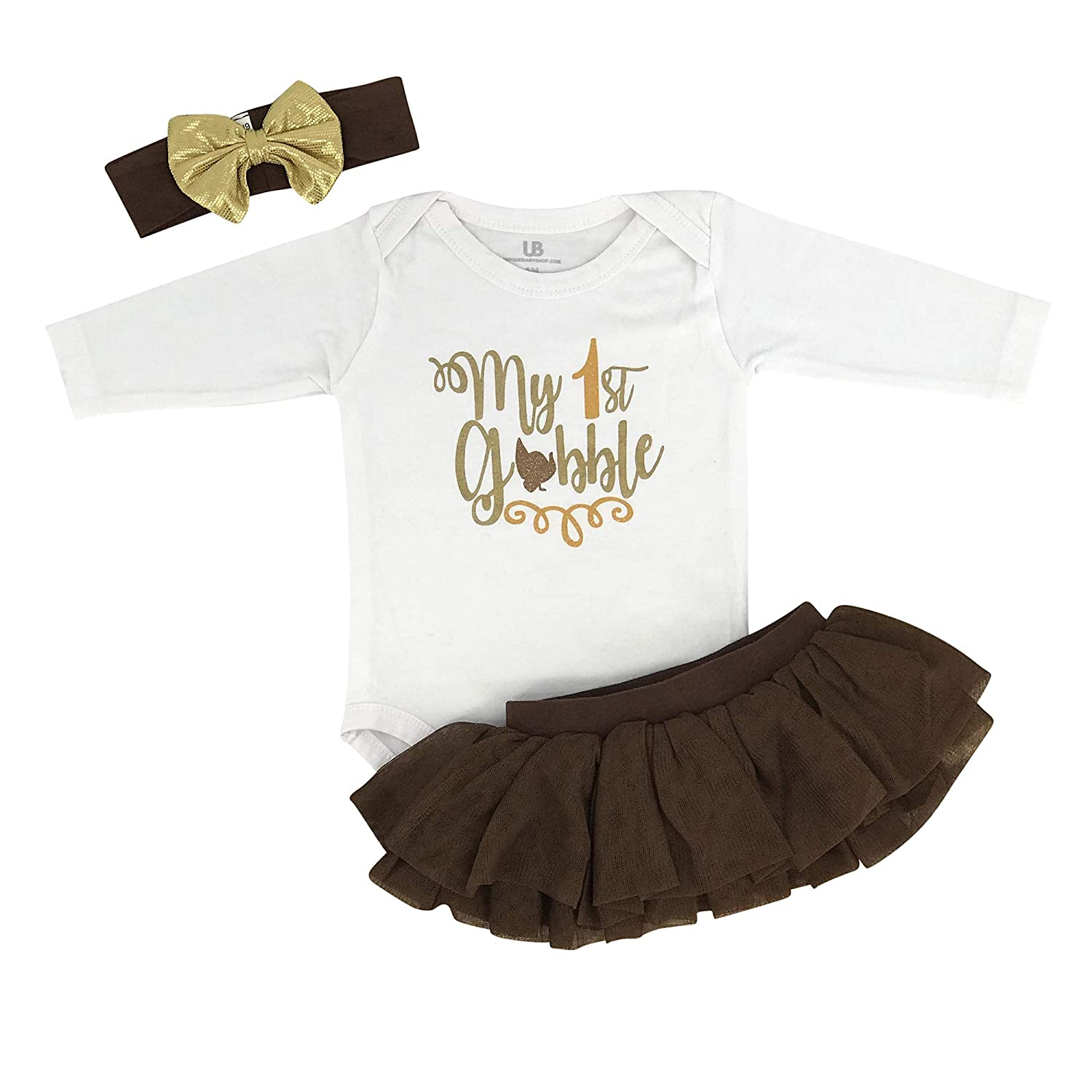 Unique Baby Girls My 1st Gobble Thanksgiving Tutu Headband Layette