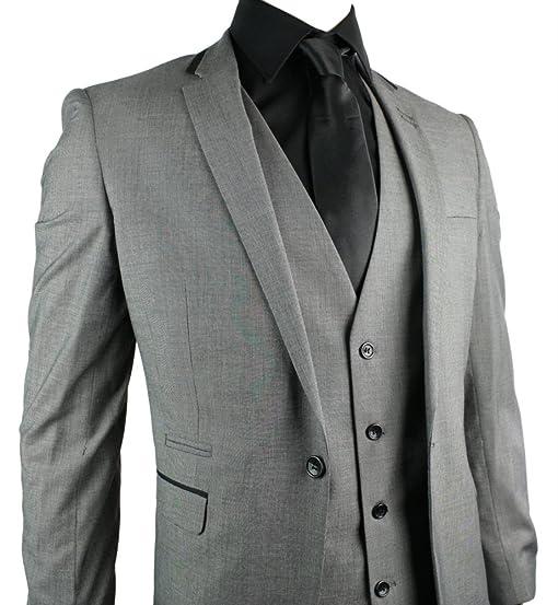 Mens Slim Fit Suit Grey 3 Piece 1 Button Black Trim Work Party ...