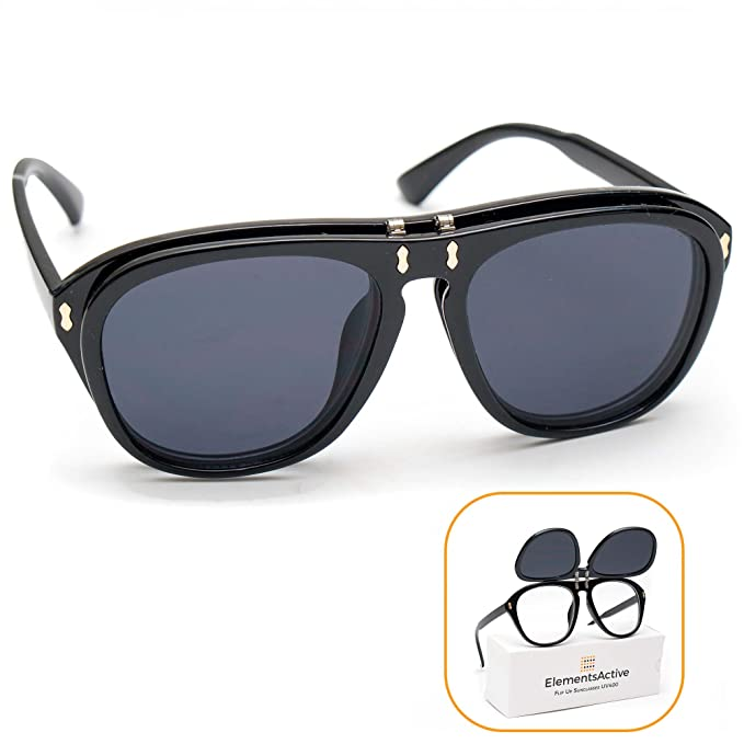 91d154ce5750 Designer Vintage Fashion Aviator Flip Up Sunglasses UV400 Protection  Anti-UV (Black)
