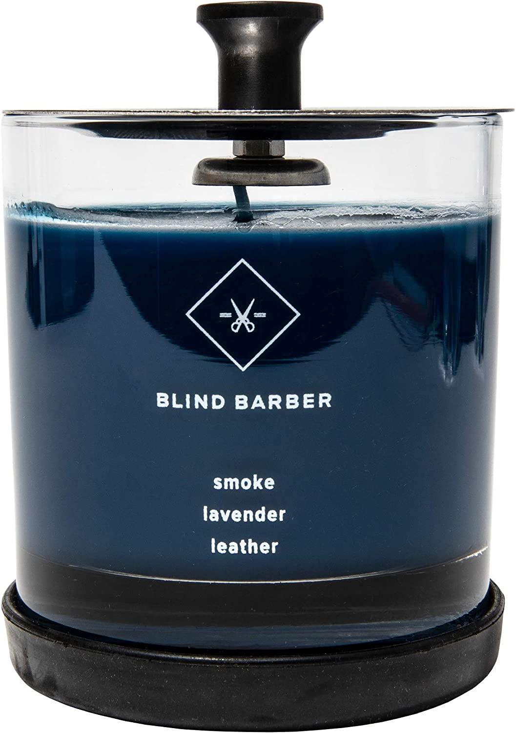 6.2 Ounce Natural Soy Wax with 40 Hour Burn Time Blind Barber Tompkins Scented Candle Smoke /& Lavender Scent for Men /& Women Leather