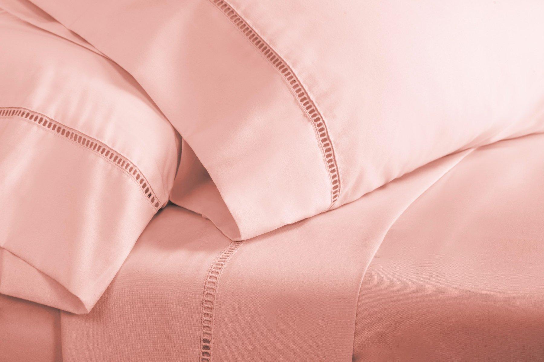 Grace Premium Microfiber Sheet Set - Super Soft, Deep Pocket, Embellished with Hypoallergenic, Wrinkle Resistant and Fade Resistant Brushed Microfiber – 4 Piece Set (Full, Pink) by ViscoSoft (Image #5)