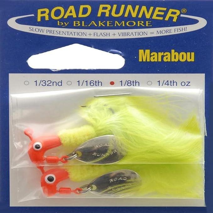 6 BLAKEMORE ROAD RUNNER BLACK SPINNER JIG HEADS//FISHING LURES 1//8oz CRAPPIE//BASS