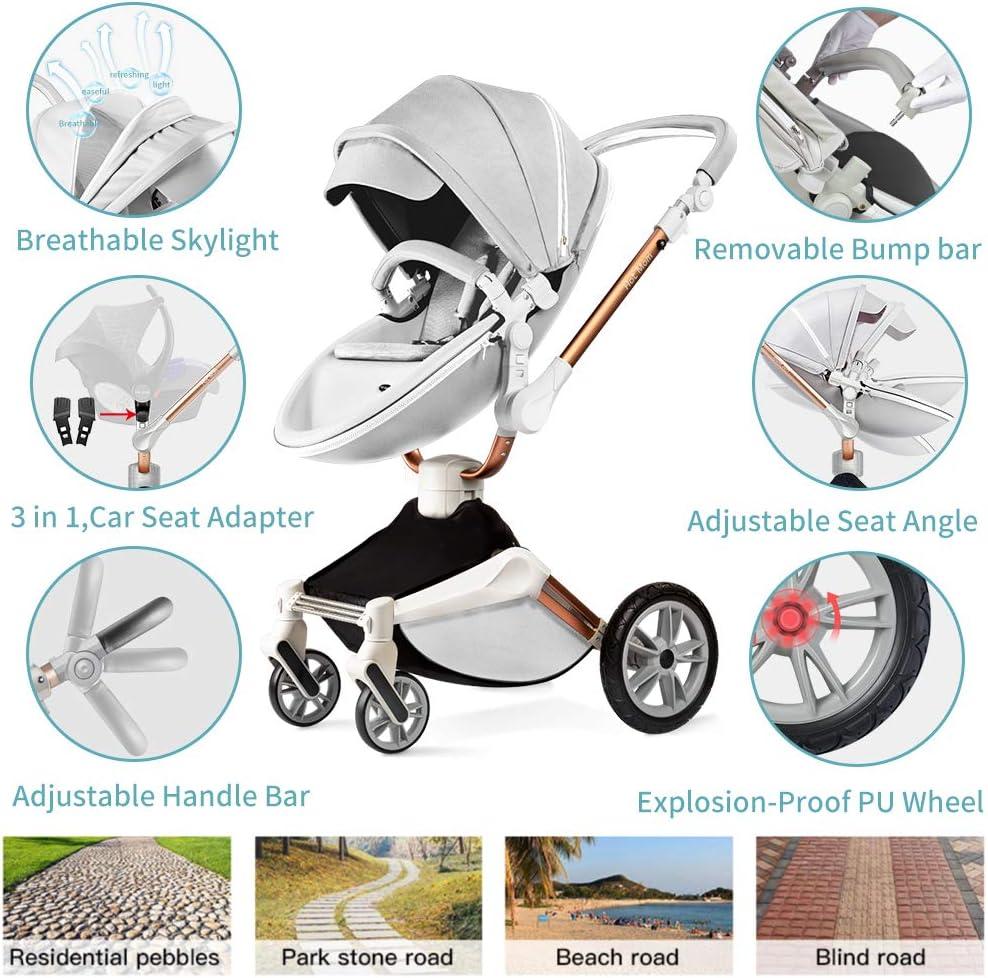 Grey Hot Mom Silla de paseo Reversibilidad rotaci/ón multifuncional de 360 grados con buggy asiento y capazo 2020 Nueva actualizaci/ón