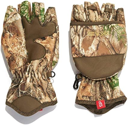 Amazon.com : Hot Shot Men's Camo Cyclone Stormproof Pop-Top Mittens - Realtree Edge Outdoor Hunting Camouflage : Sports & Outdoors