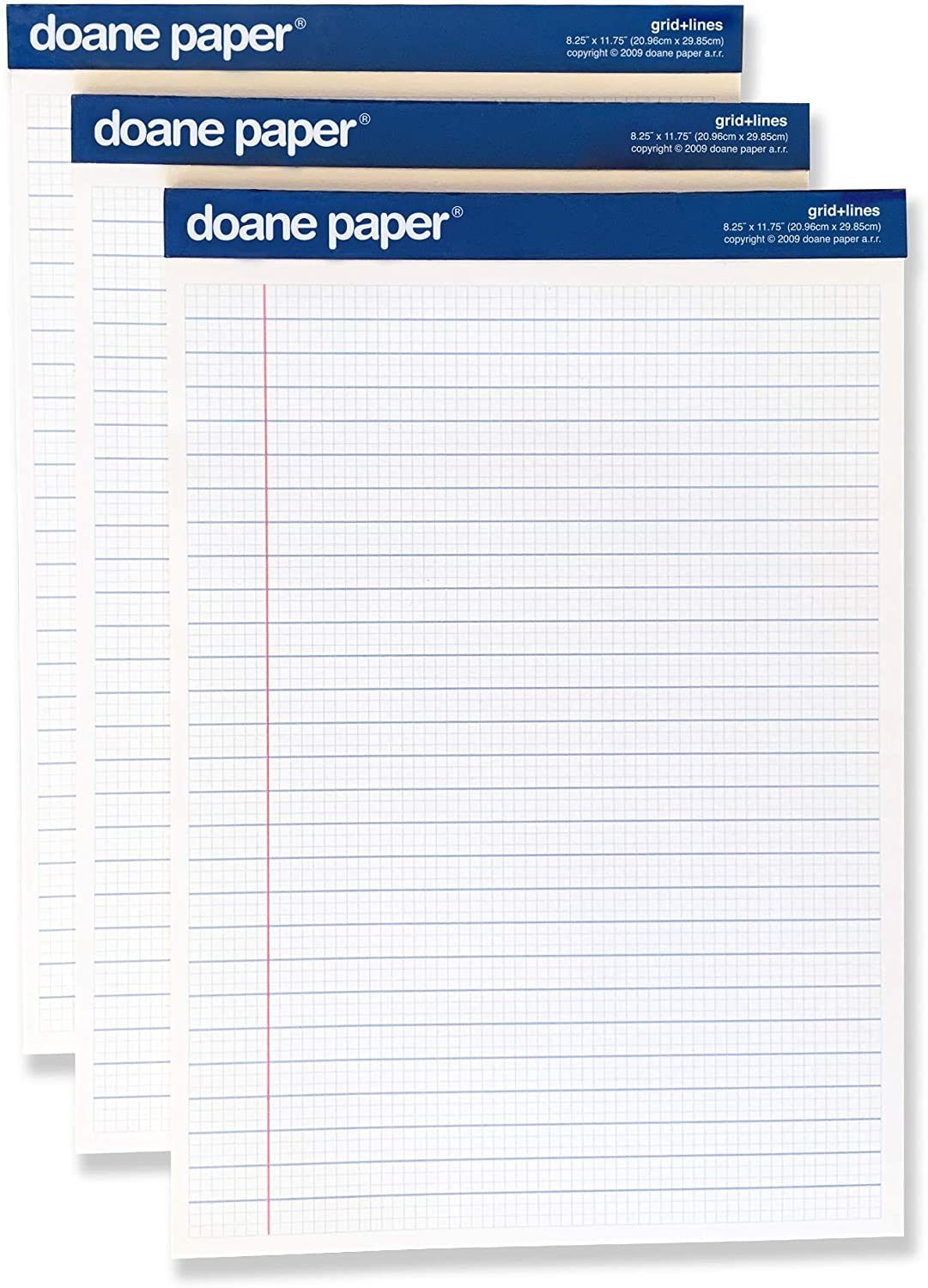 Doane Paper Grid + Lines Large Writing Pad, 3 Pack, Unique Graph & Lined Ruling, 8.25