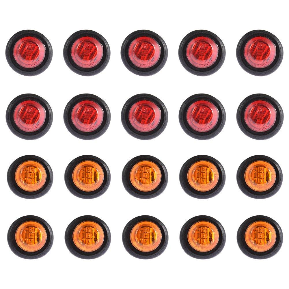 LTPAG 20Pcs 3/4 Mini Round Side Marker Light LED Clearance Bullet Marker Light Waterproof Trailer Warning Light for Car Truck Trailer Boat Red/Amber