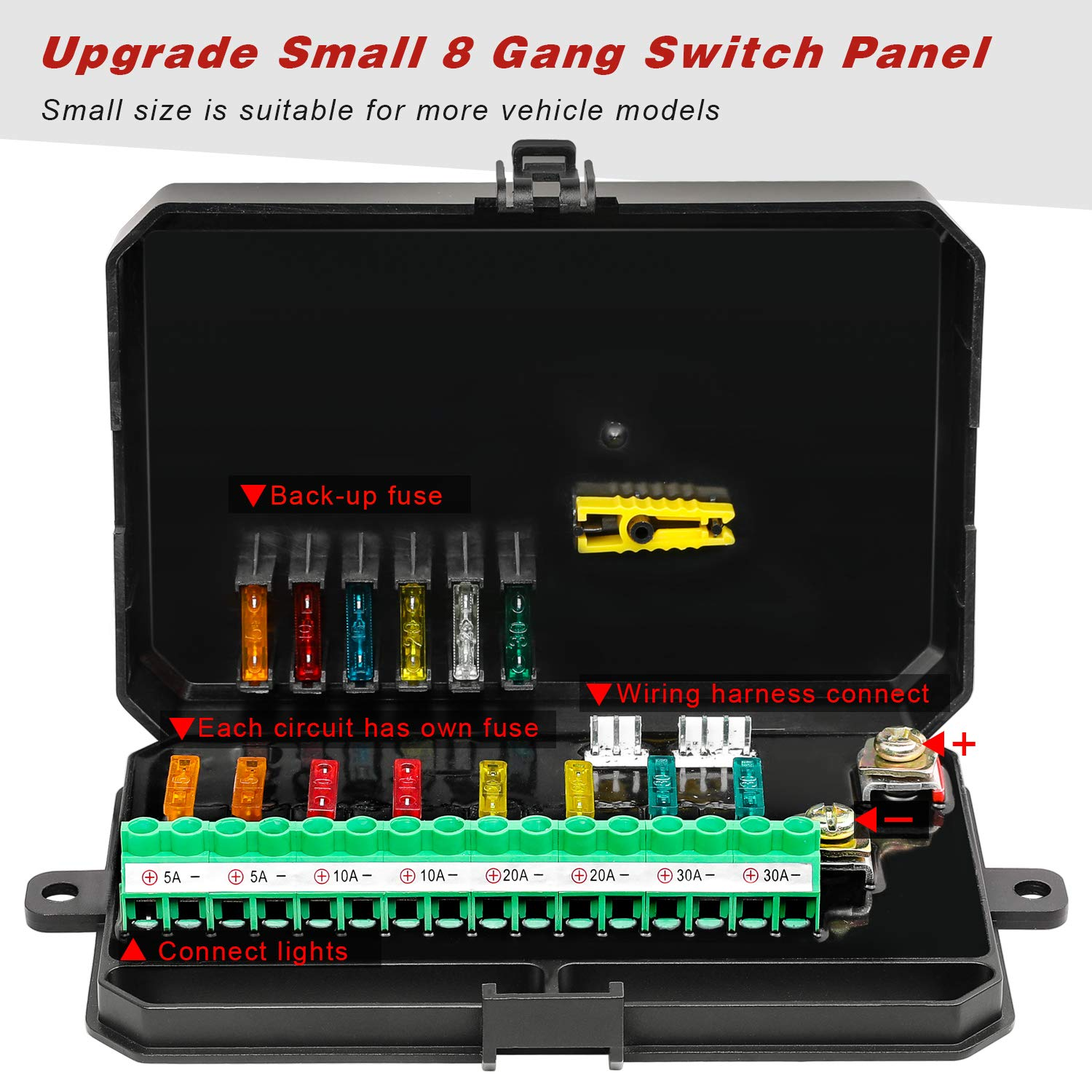 8 Gang Switch Panel Kit Auto Power Plus Circuit Control Box Electronic Relay System Universal ON//Off Touch Switch Box with Harness and Label Stickers for Truck Jeep ATV UTV Boat Marine