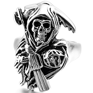 MunkiMix Acier Inoxydable Anneau Bague Ton dargent Cr/âne Coffin Homme