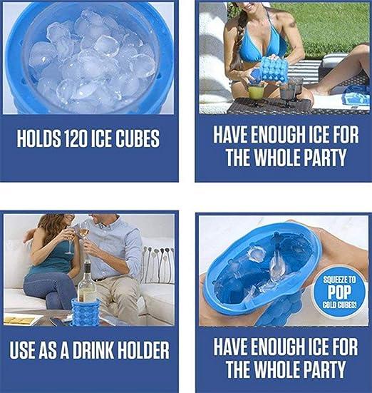 ... Ice Maker Cubitera Hielo,2 En 1 Molde De Hielos Cubo De Silicona con Tapa Ahorra Espacio En El Congelador para Enfriar Whisky, Vino, Cerveza, Café, ...
