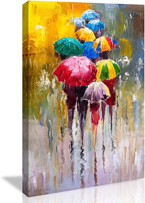 Amazon Com Chengjing Wall Art For Bathroom Bedroom Decor People In Rain Colorful Oil Painting Print On Canvas Picture Poster Wall Art Decoration Stretched And Framed Painting Posters Prints
