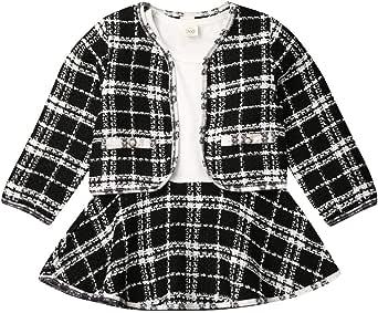 Toddler Girls Winter Outfits Long Sleeve Plaid Jacket Coats Tops Tutu Dress Skirt Party Dress Coat Sets Clothing Amazon Com