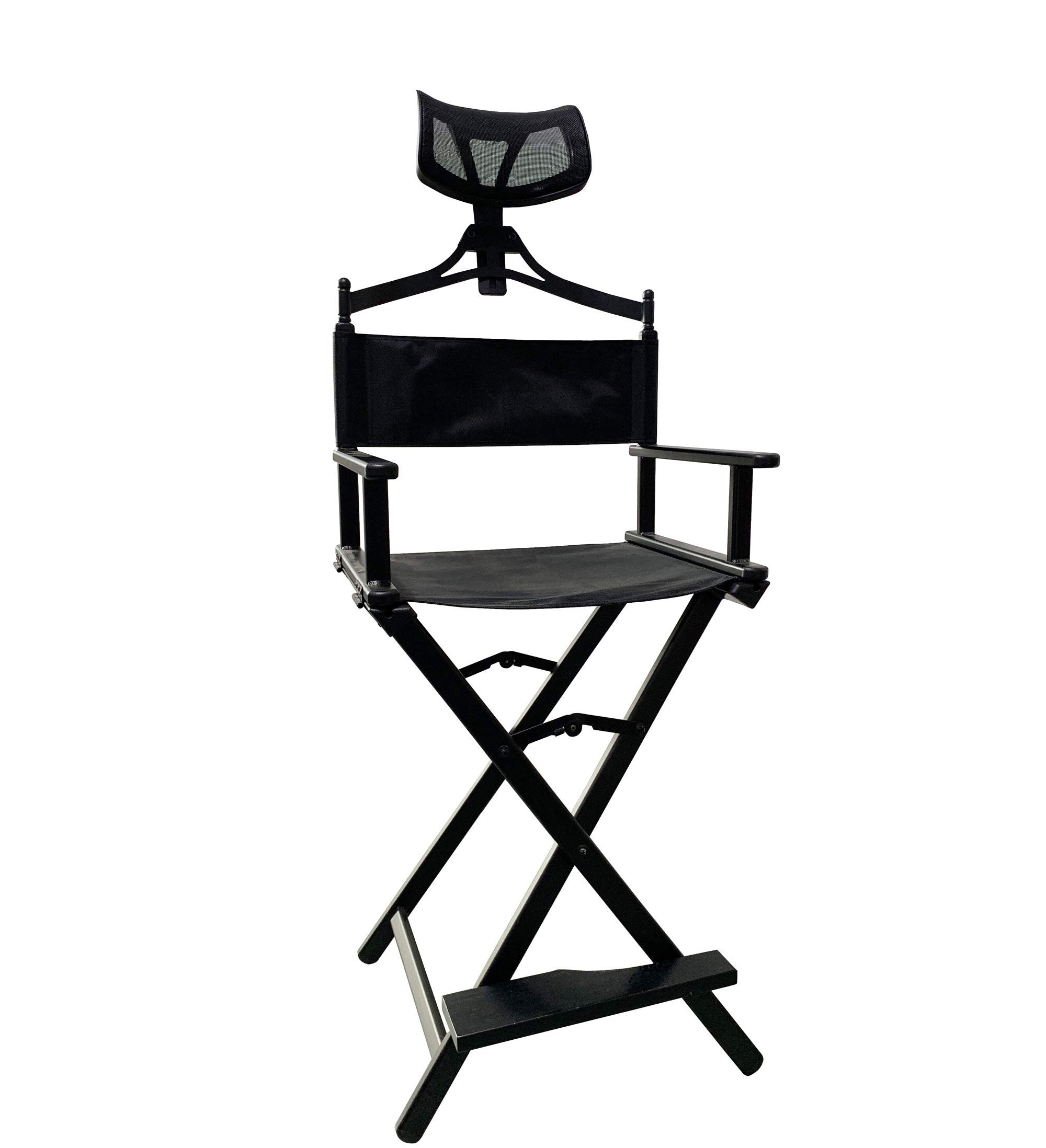 Jula Vance Foldable Tall Black Aluminum Professional Make-up Chair Director Chair with Headrest by Jula Vance