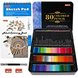 80 Colors Professional Colored Pencils, Shuttle Art Soft Core Pencil Set with 1 Coloring Book,1 Sketch Pad, 2 Sharpener…