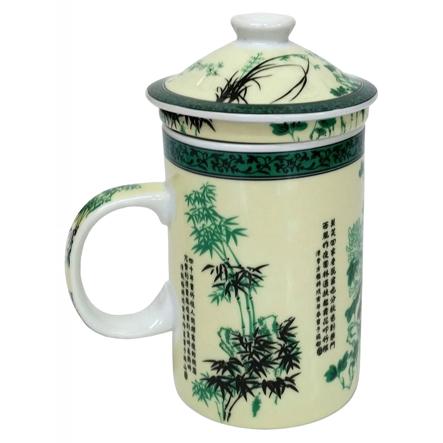 FSH261F Feng Shui Chinese Porcelain Mug Tea Cup with Lid: Bamboo