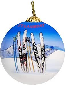 Art Studio Company Hand Painted Glass Christmas Ornament - Skis & Poles in Snow Steamboat